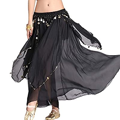 ZLTdream Women's Belly Dance Chiffon Skirt With Coins Black, One Size