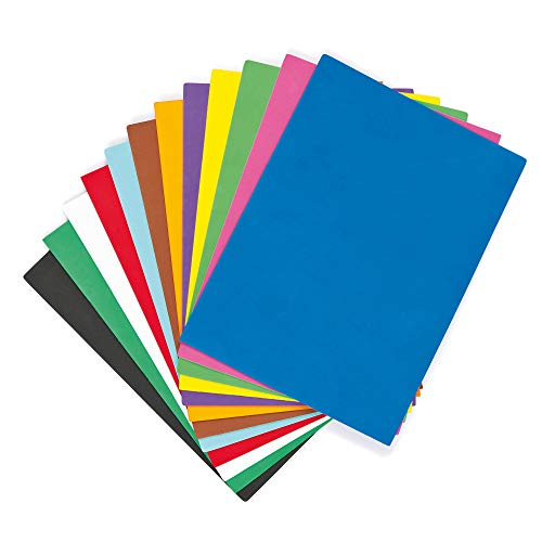 Baker Ross Pack Économique de 18 Feuilles colorées en Mousse EV4072, coloris assortis