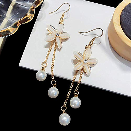 Para las mujeresPendientes de flores transparentes de cristal brillante Pendientes largos de perlas de imitación de borla larga Para las mujeres Accesorios