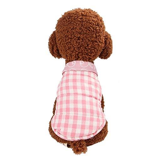 Haustier Kariertes Hemd Mantel britische Weste Mantelkleidung pet Frühjahr Herbst Winter warme Kleidung, Größe: XS (Color : Pink)