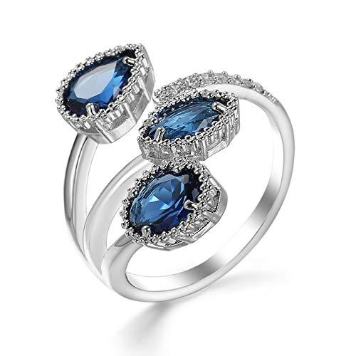 Metmejiao Sapphire Zircon Jewellery Open Ring Sterling Silver Engagement...