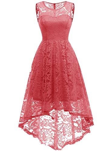 MuaDress 6006 Elegante Abendkleider Cocktailkleider Damenkleider Brautjungfernkleider aus Spitzen Knielange Rockabilly Ballkleid Rund Ausschnitt Koralle XS