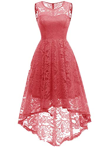 MUADRESS 6006 Vintage Floral Lace Sleeveless Hi-Lo Cocktail Formal Swing Dress S Coral