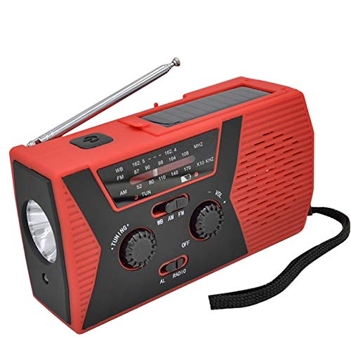 ZZJ Randonnée Solaire Radio, ABS Météo Camping SOS Multi-Fonction sirène LED Gyrophare avec Lampe de Poche AM FM USB Rechargeable à manivelle,A