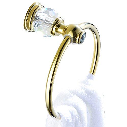 Weare Home Bohren Wandmontag Wandhalterung Bohren Befestigung Luxus Modern Poliert Gold finished Messing Handtuchring Handtuchhalter mit Kristall für Badezimmer Dusche Küche