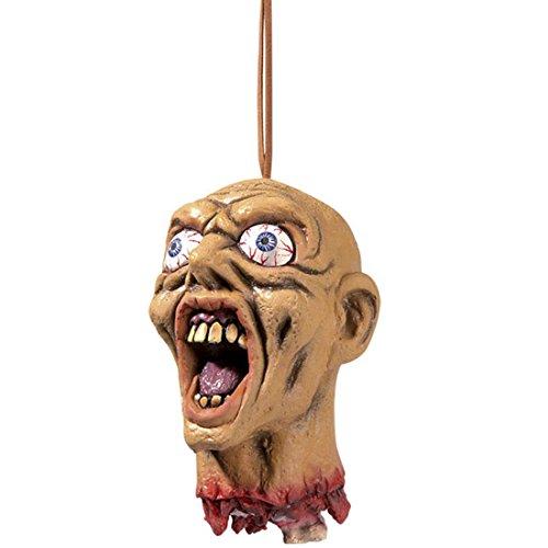 Zombie Kopf Abgetrennter Dekokopf schreiend, mit Glubschaugen Abgehackter Zombiekopf Deko Abgeschlagener Schädel Halloweendeko Grusel Monster Männerkopf Männer Monsterkopf Partydeko Halloween Dekoration Horror