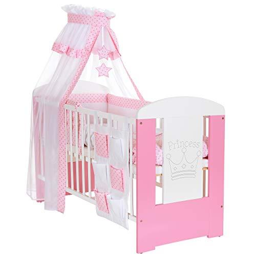 LCP Kids - 9 teiliges Baby Bettwäsche Komplettset mit Himmel, Nestchen - Baumwolle - geprüfte Textilien, Motiv gestickt: Prinzessin Krone