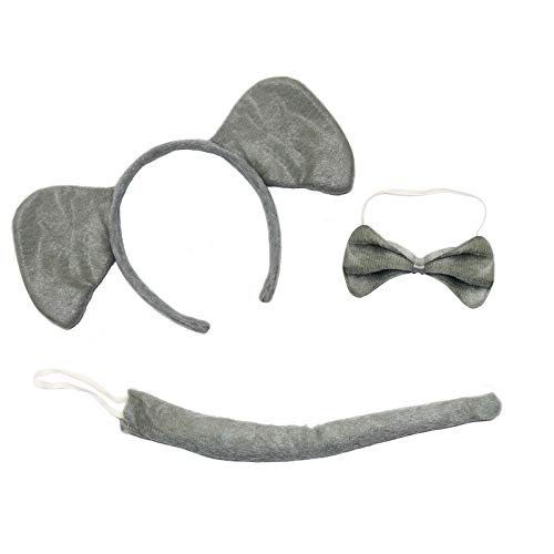 By Robelli Cute Elephant 3-Piece Book Day Fancy Dress Set (Ears Headband, Tail & Bow Tie)