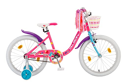 TALSON 20 Zoll Fahrrad Sarah mit Korb und Stützrädern Rosa