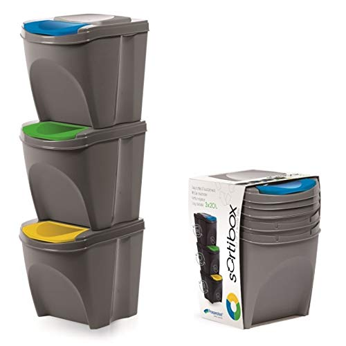 KrysGo 20 Litre Large Stackable Recycling Sorting Colour Coded Plastic Bins with Hinged Lids (3 x Grey)
