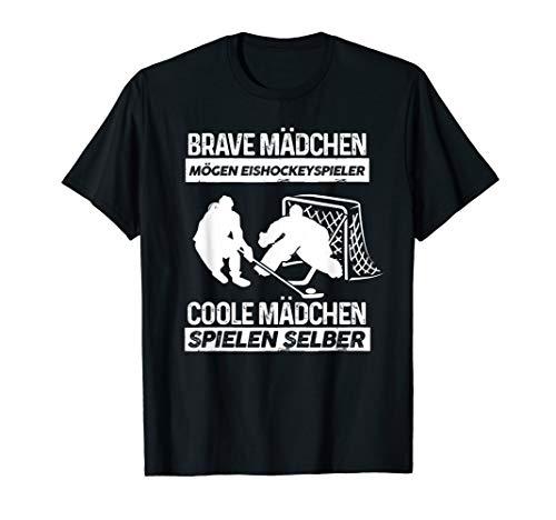 Eishockeyfan Eishockey T-Shirt: Coole Mädchen Spielen Selber T-Shirt