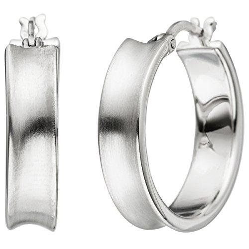 JOBO Creolen 925 Sterling Silber matt Ohrringe Silbercreolen Silberohrringe