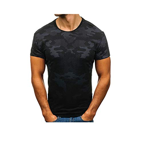 sunnymi Herren Tarnen Tops, Männer Sommer Camouflage Kurzarm Oansatz Bluse T-Shirt