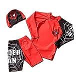 Xyh723 Niños Spiderman Swimsuit Kids 3 Pieza Swimwear Playa Secado Rápido Natación Transportes Shorts 3D Imprimir Traje De Baño Rash Guard Set Board Shorts,Red-XL/120~130CM