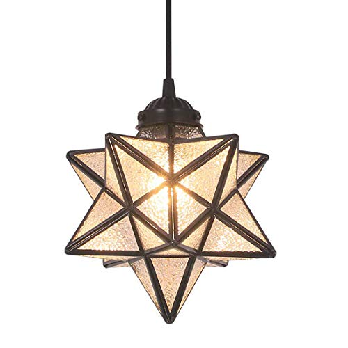 FUNME Copper Moravian Star Pendant Light with Textured Glass...