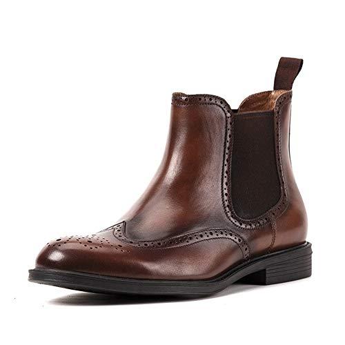 Enjoy4Beauty - Botas Chelsea para hombre, estilo brogue, punta redonda, de piel auténtica de primera calidad, tallada retro, tacón de bloque de fácil cuidado (color: café, talla: G-41)