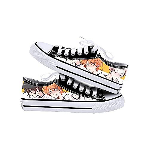 JPTYJ The Promised Neverland Zapatos de Lona Unisex Zapatos Casuales para Estudiantes de Anime Zapatillas con Cordones C-36