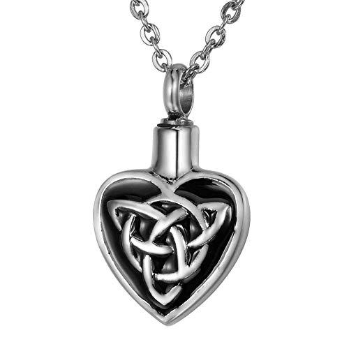 XIANGAI Elegant White K+ Black Stainless Steel Celtic Knot Enamel Heart-Shaped Openable Memorial Pendant