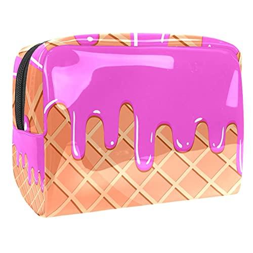 Bolsa de maquillaje con cremallera de PVC bolsa de aseo impermeable con helado de fusión para mujeres y niñas