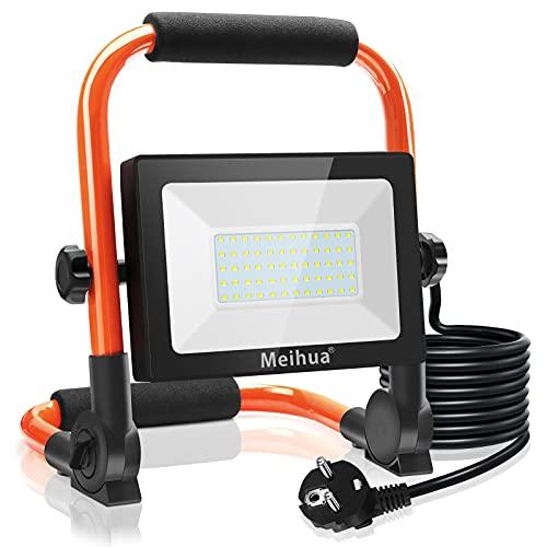 MEIHUA LED Baustrahler 60W 6000LM LED Strahler IP66 Wasserdicht Arbeitsleuchte 3.5M Kabel Flutlicht LED Fluter mit Stecker 6500K Kaltweiß Arbeitsscheinwerfer für Werkstatt Baustelle Garage