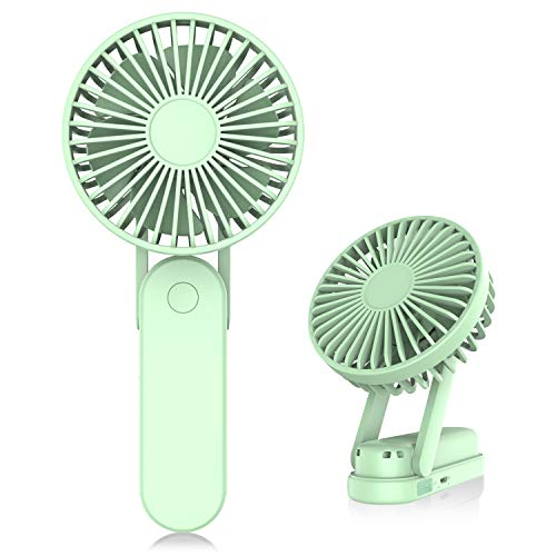 USB Small Folding Desk Fan, Rechargeable Portable Personal Hand Fan, Quiet Battery Operated Fan for Outdoor, Office, Travel, Camping (green)