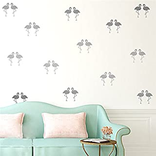 15 Unids Flamingo Wall Art Stickers, Habitaciones de Niños Nursery Diy Art Vinyl Nuevo Diseño de Pared Home Dormitorio Decoración Gris