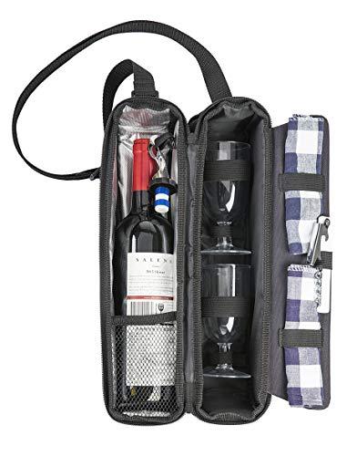 Eono by Amazon Weintragetasche Insulated - 1 Flaschen Travel Padded Champagne/Weinkühler Bag mit Wein Gesetzt und Schultergurt (Schwarz)