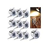 Einbaustrahler LED 10er Set, 1W LED Deckenstrahler Schwenkbar COB Deckenspots Einbauleuchte Aluminium Spots LED Set Warmweiß für Weinschrank/Schrank/Küche/Wohnzimmer-Weiß [Energieklasse A+++]