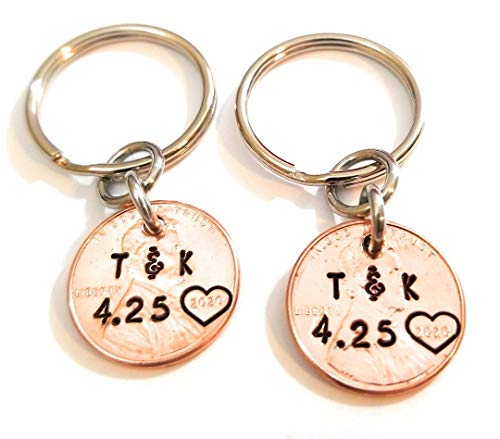 A Pair of Personalized Lucky Copper Penny Key Chains with Date, Initials and Heart Around Year