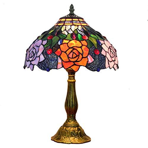 YA&NG Lámpara De Mesa Tiffany Antigua Flor De Rosa De Estilo Americano Al Lado De Lámparas De Escritorio E27 Pantalla De Vitral Luz De Escritorio Base De Aleación De Aluminio Accesorio De Iluminación