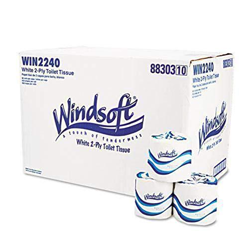 Windsoft 2240 Single Roll Two Ply Premium Bath Tissue, 500 Sheets/Roll, 96 Rolls/Carton