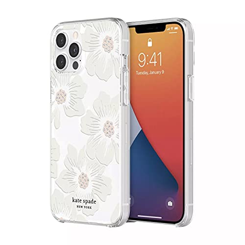 kate spade new york Protective Hardshell Case for iPhone 12 & iPhone 12 Pro - Hollyhock Floral Clear/Cream with Stones