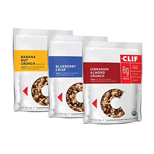 CLIF BAR Organic Gluten Free Granola - 3 Flavor Variety Pack - (10 Ounce Bag, 3 Count) (Packaging May Vary)