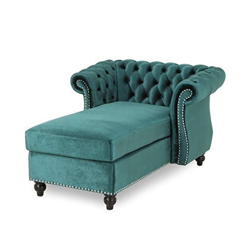 Phyllis Modern Glam Chesterfield Chaise Lounge, Teal and Dark Brown