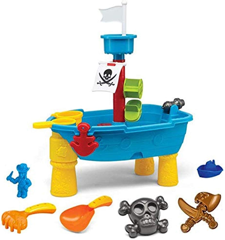 ALXDR Giocattolo della Tabella della Sabbia E dell'Acqua della Nave di Pirata con Il Playset della Spiaggia per I Bambini, Giocattolo Educativo dei Bambini