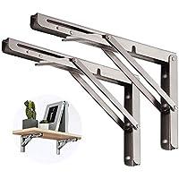 2-Pack DOMISL 12 Inch L Angle Wall Mounted Folding Shelf Brackets