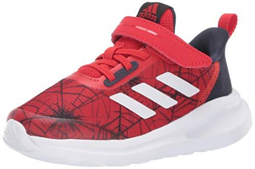 adidas Kids Fortarun Spider Elastic Cross Trainer, White/Vivid Red/Black, 4 US Unisex Toddler
