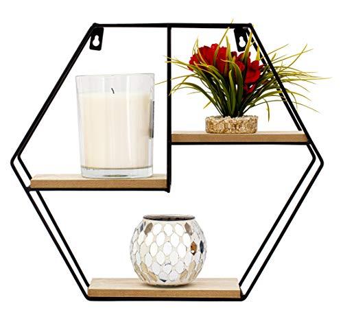 Nitaar Sechseckiges Wandregal, schwebend, mit 3 Holzregalen, ideal für Büro, Wohnzimmer, Küche, Badezimmer, Schwarz