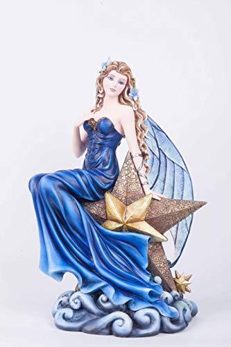 Féeries et merveilles Statuette FEE Bleuet sur Etoile (HT 37.5 X 25 cm), Figurine FEE, Grande FEE