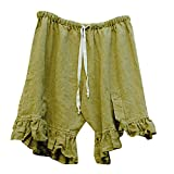 Women's Cotton Hemp Shorts Summer Casual High Waist Short Pants (Green, XXXL)