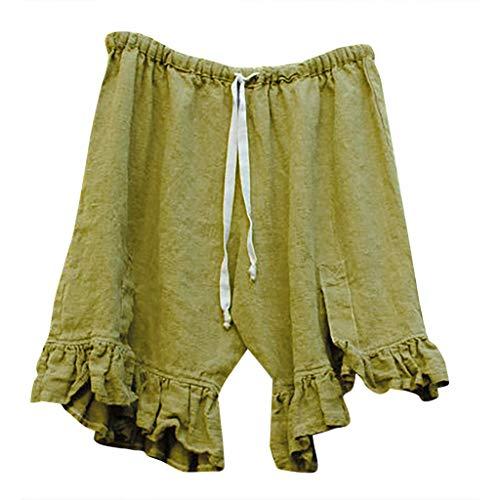 MOTOCO Damen Hohe Taille Große Größe Einfarbig Gebundene Baumwolle Mahjong Shorts Hosen Size36-50(XL(42),Grün)