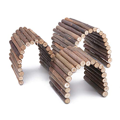 Wudong 3 Stück Holzleiter Kaubrücke Versteck Hauszaun Flexible Klettertreppe für Hamster Reptile Eidechse Schildkröte Igel Kleintier Kauspielzeug