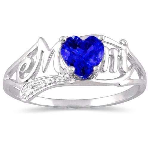 Elizabeth Jewelry Creado Azul Zafiro y Diamante corazón mamá Anillo Plata de Ley 925y RODIO Acabado