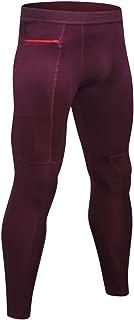 TOPTIE Men's Compression Pants Zipper Pocket Baselayer Sports Tights Leggings