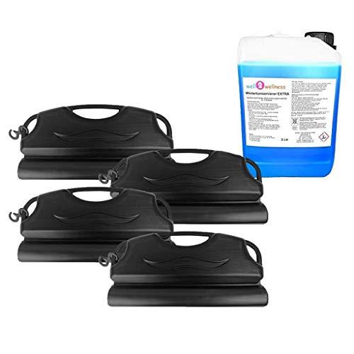 well2wellness Pool Überwinterungsset mit Winterkonservierer EXTRA 3,0 l Plus 4 x Pool Eisdruckpolster a 50cm