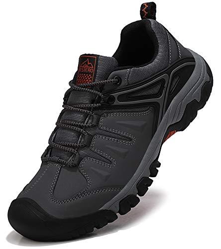 ASTERO Zapatillas Senderismo Hombre Zapatos Transpirable Trekking Antideslizantes Bajos AL Aire Libre Botas de Montaña Sneakers Tamaño 41-46(Gris, Numeric_44