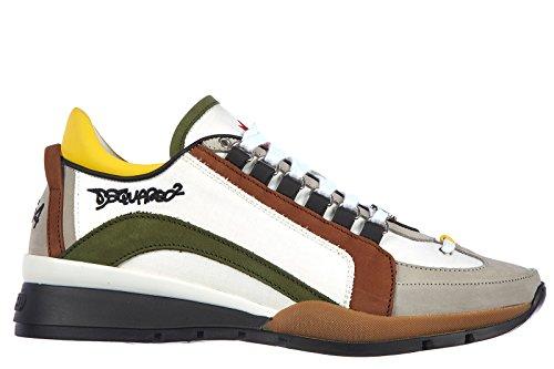 Dsquared2 scarpe sneakers uomo in nylon nuove tessuto tecnico bianco