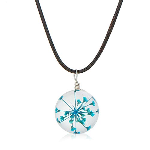 VAWAA Collar de Flores secas de Cristal Transparente con cordón de Cera...