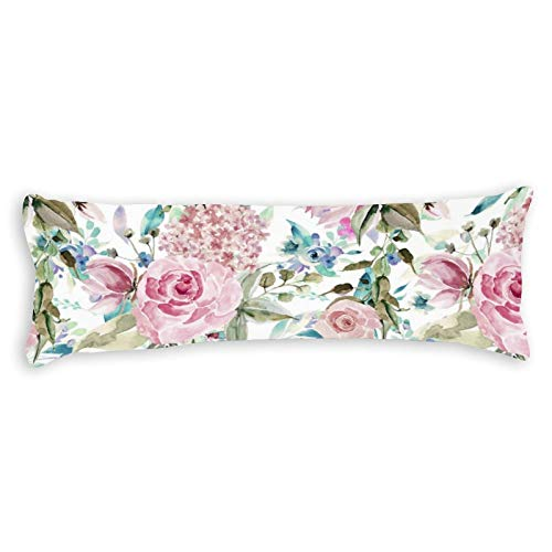 Vintage Country Chic Pink Teal Lavender Floral Ultra Soft Microfiber Long Body Pillow Cover Pillowcases with Hidden Zipper Closure for Kids Adults Pregnant Women, 20' x 54'