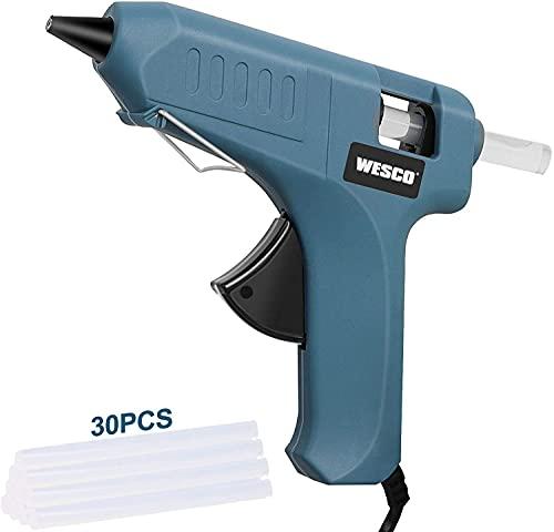 WESCO Pistola Colla a Caldo 40W con 30pcs Stick di Colla (Φ11mm*150mm) per Progetto DIY WS5801